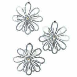 Metal Wall Flowers 3D Art Decor with Vintage Galvanized Look Set of 3