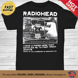 Radiohead Vintage t Shirt I have a paper here T shirt size Unisex Black S 3XL