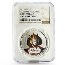 Niue 2 Dollars Star Wars Queen Amidala Pf-70 Ngc Colored Proof Silver Coin 2012