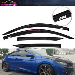 Fit 16-20 Honda Civic Coupe Window Visor Mugen Type Tape-on Guard W/ White Si