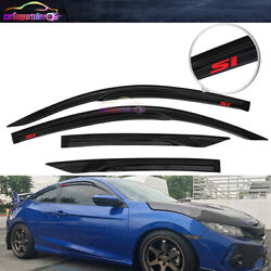 Fit 16-20 Honda Civic Coupe Mugen Style Window Visor Wind Deflector W/ Red Si