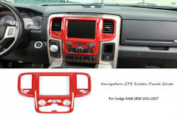 Center Console Navigation Gps Screen Panel Cover Trim For Dodge Ram 2011-17 Red