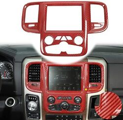 Center Console Navigation Gps Panel Cover Trim For Dodge Ram 2011-17 Red Carbon