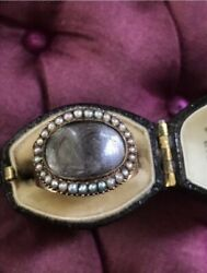 Georgian Late 1700's Early 1800's Mourning Sentimental Gold Ring Pearl Hair