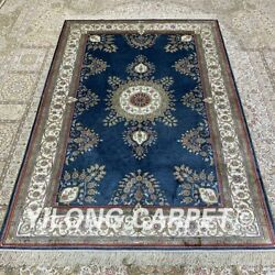 Yilong 4and039x6and039 Handmade Silk Carpet Living Room Blue Antistatic Area Rug H312b