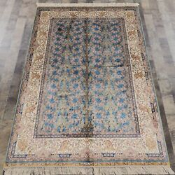Yilong 4and039x6and039 Nice Blue All Over Luxury Handmade Carpet Silk Area Rug Zz048