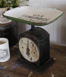 Antique English Salter Grocers Advertising Scale And Enamel Pan Homepride Flour