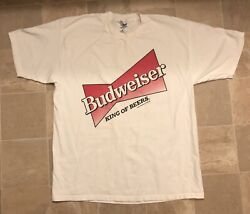 Vintage 1996 Budweiser King Of Beers Graphic Party Drinking T Shirt Xl