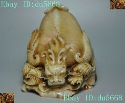 China Dynasty Natural Shoushan Stone Wing Dragon Beast Statue Seal Stamp Signet