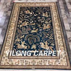Yilong 4and039x6and039 Hand Knotted Silk Area Rug Hunting Animal Wildlife Tapestry Lh986b
