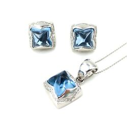 See Video Sapphire And Diamonds Pyramid Earrings And Pendant Set In 18k White Gold