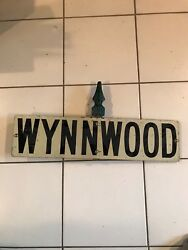 Rare Vintage Street Signs With Finial Cap Wynnwood 2 Signs Attached To Pole Cap
