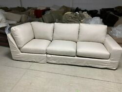 Pottery Barn Big Sur Square Arm Slipcovered Wedge Loveseat Sectional Sunbrella