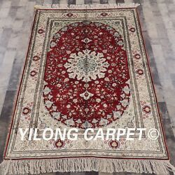 Yilong 4'x6' Handknotted Silk Area Rug Home Office Antistatic Red Carpets 474b