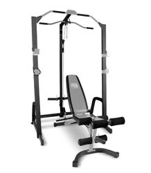 Marcy Home Gym Fitness Cage System Machine, Adjustable Weight Bench