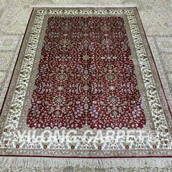 Yilong 4.5'x6.5' Red Handknotted Silk Carpet Eco Friendly Classic Area Rug H320b