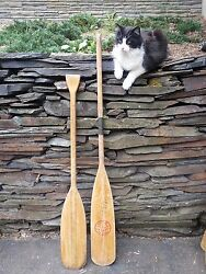 Great Colors Old Set 2 Odd Different Oars 55 + 48 Long Boat Wooden Paddles