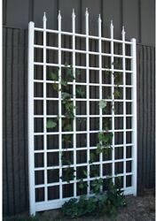 Trellis 96 In. X 57 In. White Vinyl Pvc Winchester Precut With Wall Mounting Kit