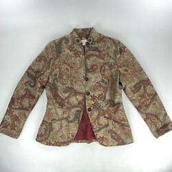 Coldwater Creek Tapestry Jacket Blazer Sz 4 Mandarin Collar Floral Lined Buttons