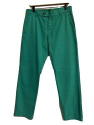 Brooks Brothers Milano Fit Green Flat Front Garment-dyed Chinos Sz 33 X 32