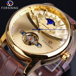 Forsining Moon Phase Automatic Watch Royal Men Golden Waterproof Mechanical