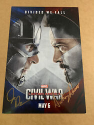Captain America Civil War Mini Poster Autograph By The Russo Brothers 12x17 1/2