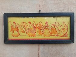 Collectible Old Wooden Framed Dancing Woman Group Tin Sign Board