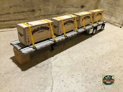 Custom Dcp Spread Axle Flatbed Trailer With Harley Davidson Wood Loads 1/64