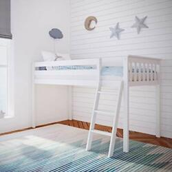 Solid Wood Twin-size Low Loft Bed, White Bed White Low Loft