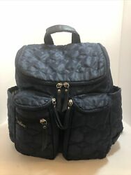 Wallaroo Designer Diaper Bag Baby Backpack Deluxe Organizer Quilted Navy Blue $21.33