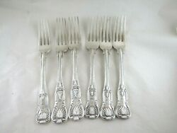 Antique Solid Silver 6 Kings Pattern Table Forks Hallmarked- London 1824 To 52