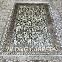 Yilong 4'x6' Handwoven Silk Area Rug Antistatic Family Room Floral Carpet H304b