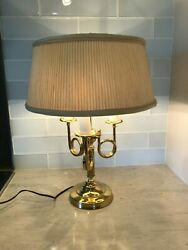Vtg Alsy Brass Bouillotte Lamp 3 French Horn 3 Light With Pleated Shade