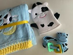 Nursery Rhyme Cow Jumped Over The Moon Crochet Baby Blanket Gift Set