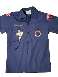 Boy Cub Scout Youth Medium Blue Shirt Short Sleeve Bsa Scouts Patches
