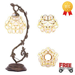 Desk Lamp Stained Glass Table Reading Light Clear Lover Flower Petals