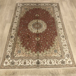 Yilong 4'x6' Red Handknotted Silk Area Rugs Traditional Oriental Carpet 026b