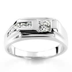 0.45 Ct Vrai Diamant Homme Alliance Solide 14k Bague Or Blanc Taille U T V