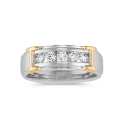 0.5 Ct Naturel Diamant Homme Fianandccedilailles Anneaux 14k Blanc Solide Or Band Size R