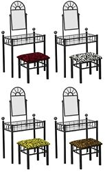 Vanity Black Metal Finish Make Up Table With Mirror And Animal Print Bench