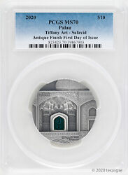 2020 10 Palau Art Safavid 2oz 999 Silver Pcgs Ms70 First Day Of Issue