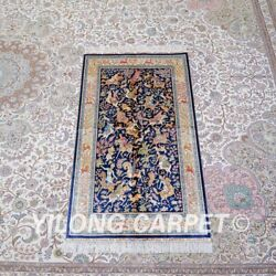 Yilong 3and039x5and039 Hunting Animal Handmade Silk Carpet Tapestry Villa Area Rug Z458a