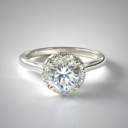 0.90 Ct Brillant Coupe Real Diamond Engagement Ring 18k Or Blanc Taille M N O P