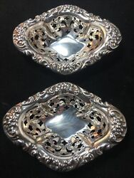 Pair Of Pierced Sterling Silver Nut Dishes Very Good Condition No Monogram 243