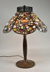 Antique Leaded Stained Chunk And Jewels Glass Lamp Shade Only