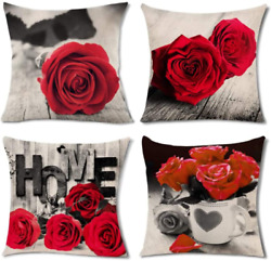 Pack of 4 Red Couch Pillows Covers Bed Decor Rose Blooming Flower Pattern Throw