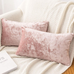 Luxury Crushed Velvet Pink Throw Pillow Covers Pack of 2 for Sofa Couch