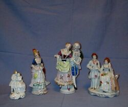 Vintage Lot Of 4 Figurines Porcelain Ceramic Occupied Japan Colonial Victorian