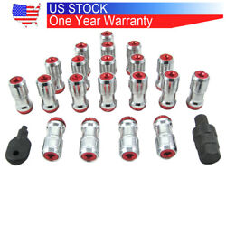 Rims Tuner M12x1.5 With Lock Extended Dust Cap Steel Lug Nuts Wheel Red
