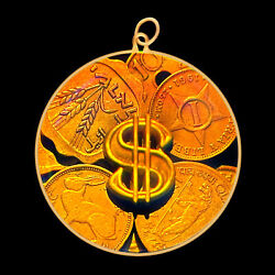 9ct Gold Hologram Pendant - Dollar Sign Coins Money Large - No Chain